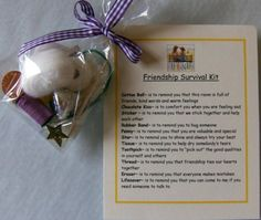 Girl Scout Friendship Survival Kit- good idea for GS Friends are fun brownie badge! Could have the girls make their own and write their own words too