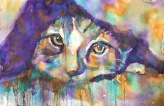 "I was teaching a class discussing about unity in with a limited Palette. So, I asked the class, what 3 colors I should paint with today? Quin Gold, turquoise, and purple. They didn't know what I was going to paint before choosing the colors and when they saw it was Cat, there were gasps! You can paint a cat with purple, I was told. The title is ""Cozy"" by Michelle Manriquez Art"
