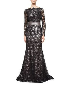 Long-Sleeve Lace Gown, Black by Escada at Neiman Marcus.