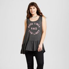 Women's Plus Size Good Times and Tan Lines Ruffle Graphic Tank Charcoal Gray 3X - Zoe+Liv (Juniors')