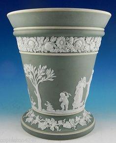 """Wedgwood Green Jasper Dip Flower Vase 6"""""""