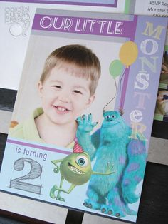 Monster's Inc. Sully & Mike Birthday Photo Invitation Set. $45.00, via Etsy.    Copyright 2012 Cordial Punch Press  www.cordialpunch.com