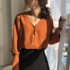 Flectit Business Chic Women Blouse & Shirt V-Neck Button Down Long Sleeve Spring Autumn Tops Lady Work Outfit * Kpop Fashion Outfits, Korean Outfits, Cute Casual Outfits, Stylish Outfits, Mode Orange, Korean Girl Fashion, Fashion Women, Mode Inspiration, Aesthetic Clothes