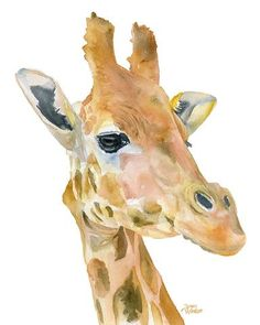 Giraffe watercolor giclée reproduction. Portrait/vertical orientation. Printed on fine art paper using archival pigment inks. This quality printing allows over 100 years of vivid color in a typical ho
