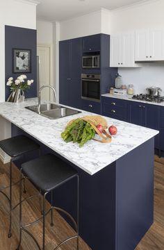 kitchen trend watch painted cabinets and brass hardware kitchen cabinet design blue kitchen on kaboodle kitchen navy id=66653