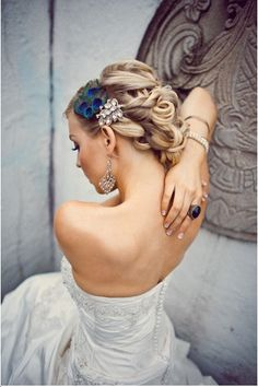 Bridal Hair - 25 Wedding Upstyles & Updo's - A romantic twisted hair design with hair accessory is so chic!