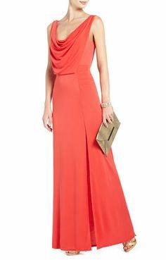 Bridesmaid dresses: BCBGMaxAzria Lena Draped Gown in bright poppy