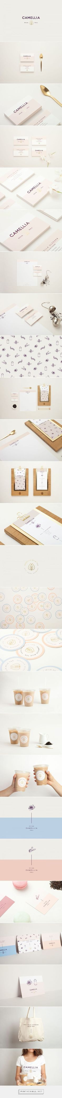 Camellia Milk Tea on Behance / Branding / Brand Design / Ideas / Inspiration / Chai / Food / Delicate / Feminine / Soothing / Pastel Palette / Modern / Minimal / Minimalist