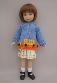 Heartstring Doll's School Bus Sweater Set created by Jo's Doll Shoppe.