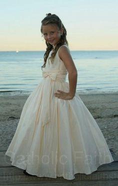Taffeta First Communion Dress with Sash - White