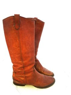 9d3a4a541459 Distressed Bohemian Cognac Buttery Soft Leather Pull On Knee High Boots w   Heel Women s Size