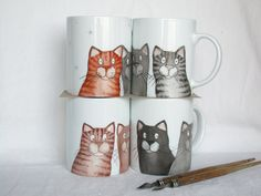 handpainted gray cats mug,  black cats coffee cup, tabby cat tea cup custom pet portrait