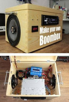 DIY Battery Reconditioning - This boombox is made out of a car radio, salvaged speakers, and two lead acid batteries. Plays for 9 hours continuously! Save Money And NEVER Buy A New Battery Again Diy Electronics, Electronics Projects, Arte Bar, Diy Boombox, Diy Tech, Diy Hanging Shelves, Diy Speakers, Speaker Box Diy, Lead Acid Battery