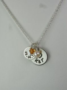Couple's Stamped Date Initial Necklace by MesmericJewelry on Etsy, $30.00