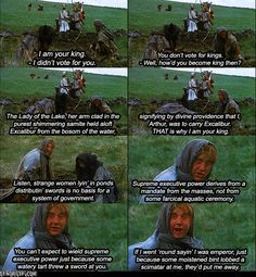"Monty Python and the Holy Grail. Best skit in the movie..... One of the best political satire scenes ever. ""....now you see the violence inherent in the system..... Help! Help! I'm being repressed!"""