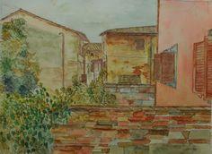 "title: ""Certaldo Alto"", (toscany) watercolor / acquarelle  height: 60 cm   width:  45 cm made by Enrico Napoletano  in Florence (Italy);photo by EN unique piece"
