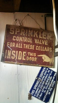 Pair of old fire sprinkler signs Fire Sprinkler, Old Signs, Control Valves, Great Photos, Art Images, Safety, Printables, Posters, Antiques