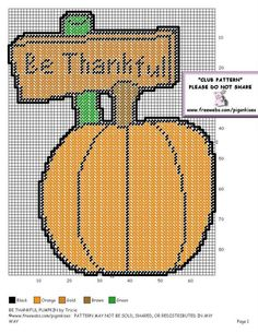 BE THANKFUL PUMPKIN by TRICIA - WALL HANGING