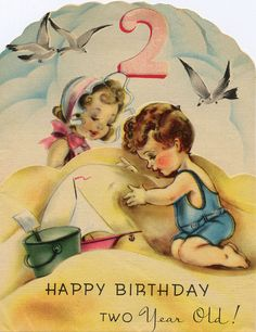 Vintage seaside themed card for my Babyboy who turns 2 this friday!!