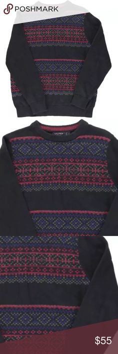 Nautica-Navy Pattern Pullover Crewneck Sweater XXL Manufacturer: Nautica Size: XXL Size Origin: US Manufacturer Color: Classic Navy Retail: $98.00 Condition: New with tags Style Type: Pullover Sweater Collection: Nautica Sleeve Length: Long Sleeve Neckline: Crew Material: 100% Cotton Fabric Type: Ribbed Knit Specialty: Printed Style Number: S53308 Sku: BH2277382 Nautica Sweaters Crewneck
