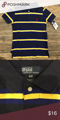 NWT Polo by Ralph Lauren navy/blue/yellow polo NWT Polo by Ralph Lauren navy/blue/yellow short sleeve polo. Boys size 3/3T Polo by Ralph Lauren Shirts & Tops Polos