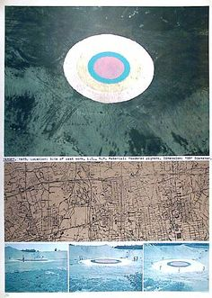 Dennis Oppenheim: Target, 1981. Lithograph. 41 1/4 × 29 3/4 in; 104.8 × 75.6 cm. Edition of 150. documentation of an earthwork realised in 1975.