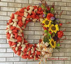Easy DIY Fall Burlap Wreath - with step-by-step tutorial.