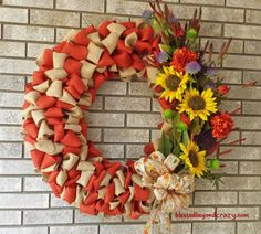 Easy DIY Fall Burlap Wreath - with step-by-step tutorial.