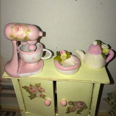 ♥ 1 Küchenmaschine shabby chic ROSA Miniatur Puppenstube 1:12 ♥