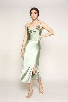 Features Polyester Midi length Model wears a size small This style fits true to size! Green Formal Dresses, Green Wedding Dresses, Green Bridesmaid Dresses, Sage Green Dress, Satin Skirt, Dress Cuts, Dream Dress, Evening Dresses, Kebaya