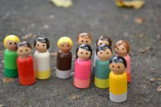 Simple hand painted peg dolls, also cool doll house to hang on the wall-my hubby can make this.