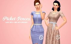 """gohliad:  """" picket fences / / late 30′s + mid 40′s dresses  named after a hairstyle in fo4, here are the 2 dresses I made for Margo to complete the set (see """"bolero"""" dress here) The first dress is a late 40′s peplum style with buttons. The second is a..."""