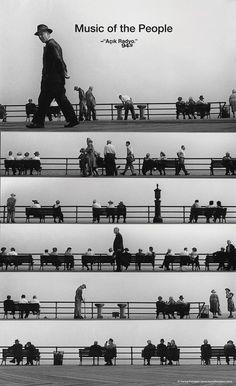 """Campagne de pub intitulé """"Music of the People"""",  pour la station de radio Turque:  Acick Radyo.  Dans cette photo les personnage et leur environnement sont une analogie a la partition musical, on pourrait donc imaginer jouer cette partition. (campagne de pub-2013 / photographie-1952 part Harold Feinstein.)"""