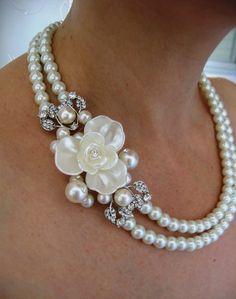 Ivory Swarovski Pearls Necklace Weddings  pearl by IreneJewelry, $54.00