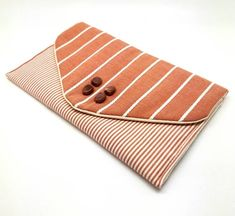 Rust Brown Envelope Clutch Bag Coin Purse Wallet Beads White Stripe Gift for Women Cotton Magnetic Snap Coin Purse Wallet, Clutch Bag, Decorative Beads, White Clutch, Brown Envelopes, Envelope Clutch, Rust Color, Etsy Shipping, Fabric Patterns