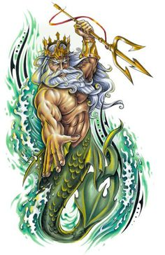 King Neptune - Cakes - Under The Sea - Populer Tattoo Pin Share Poseidon Tattoo, Poseidon Drawing, Poseidon Trident, Navy Tattoos, God Tattoos, Tattoo Deus, Desenho New School, Greek God Tattoo, Trident Tattoo