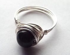 Black Stone Ring Black Onyx Ring Wire Wrapped by PepperandPomme