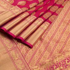 Ghanshyam Sarode Handwoven Jazzberry Jam Violet Monochrome Kanchipuram Silk Saree with Annam / Hamsa Motifs 10002477 - AVISHYA