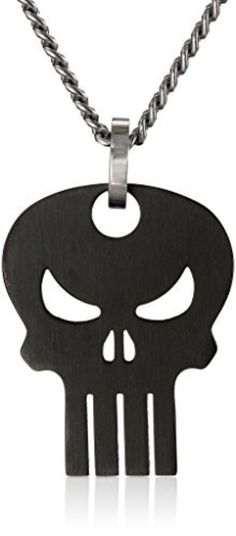 Marvel Comics Unisex Punisher Black Skull Stainless Steel Chain Pendant Necklace, 24 by Marvel Comics -- Awesome products selected by Anna Churchill
