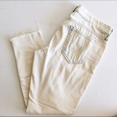 """Mother Looker Ankle Fray Jeans Anthropologie """"Out of the Box"""" Mother jeans! White with blue details! Super comfy! Cotton/Polyester. Gently worn. MOTHER Jeans Ankle & Cropped"""
