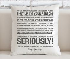 Grey's Anatomy Quotes Filled Cushion High Quality by ohmyframe Greys Anatomy Tshirts, Greys Anatomy Gifts, Grey Anatomy Quotes, Grays Anatomy, Grey's Anatomy Merchandise, Funny Throw Pillows, You Are My Person, Owen Hunt, Derek Shepherd