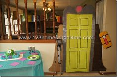 Monster Inc Party, Monster Birthday Parties, 2nd Birthday Parties, Birthday Ideas, Monsters Inc Doors, Monster Inc Cakes, Monsters Inc Baby Shower, Cute Monsters, Baby Shower Decorations