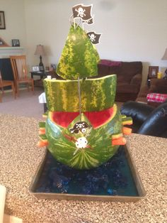 Watermelon pirate ship with blue jello as water