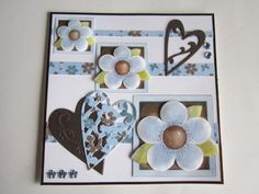 Scrap card blue flowers