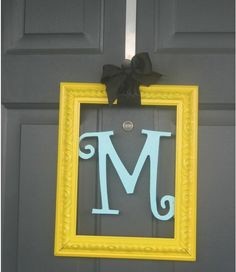 frame a wooden letter on a door, wall, etc.