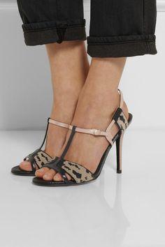 Fendi | Sequined lizard-effect leather sandals | NET-A-PORTER.COM