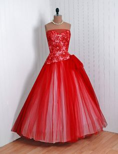 1950's Vintage Red Floral Tulle Strapless Wedding Party Dress!