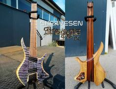 """Skervesen Shoggie Doublecut! 7-string, 25,5-27"""" scale, NTB version, rosewood/ebony/maple 7-piece neck with not parallel fillets, figured rosewood fretboard + maple binding + Skervesen logo, most-swamp ash wings , walnut middle layer + quilted maple top, Bare Knuckle Pickups Aftermath + Mule, ABM black hardware."""