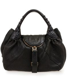 Fendi 8BR511 Black Distressed Leather Spy Bag