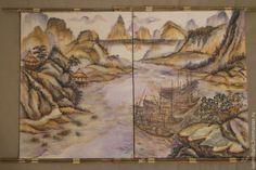 Купить В переливах света - золотой, Батик, картина батик, Диптих, китайский стиль